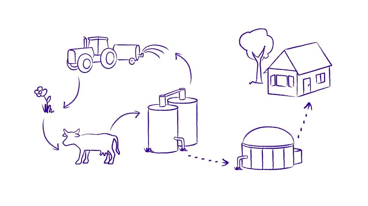Prozess der Biogaserzeugung